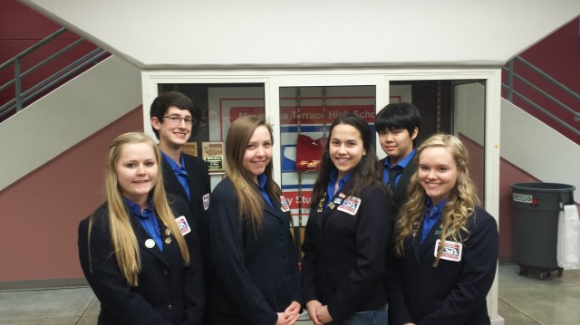 Six MTHS students will be attending the National TSA Conference in Washington D.C.; from left, Paxtyn Merten, Connor Ebright, Kathleen Cram, AsiaLee Donnelly, Jonathan Thiem, Haeley Johnston