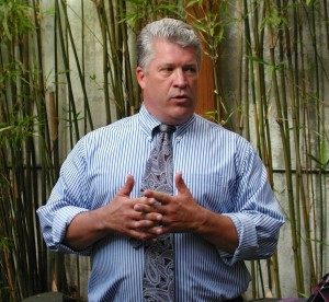 Judge Jeffrey Goodwin speaks to supporters at the Loft Cafe and Social Lounge in downtown Edmonds Wednesday night.