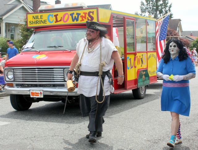 The Nile Shrine Haunted House and Clowns both marched in the Fourth of July parade in Edmonds. (Photos by David Pan)
