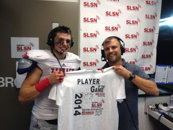 Lacasse receives his Player of the Game T-shirt during the Sound Live Sports Network post-game interview.
