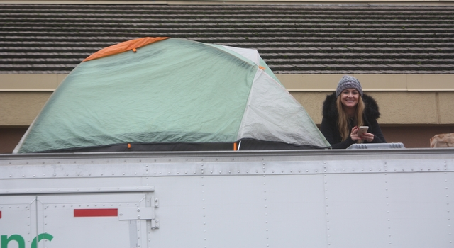 KISS radio personality and former Bachelor contestent Molly Mesnick is camping out on top of a semi at Albertson's as part of a food bank drive.