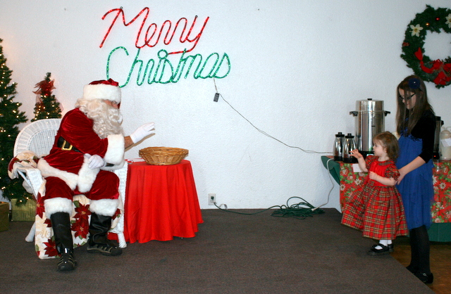 Some visitors were a little tentative with Santa Claus.