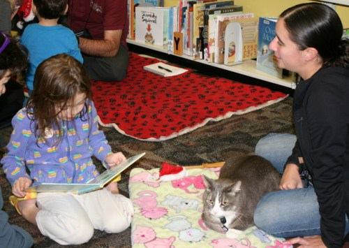 Shannon Scully reads to Smokey the cat and owner Jenny LItz (right)