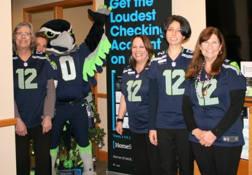 The HomeStreet Bank staff of Marilla Sargent (branch manager) Yvonne Jones, Linda Drederichs, Krista Beirn and Katherine Cox enjoyed Blitz's appearance.