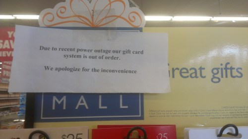 Although the store is able to process purchases using debit and credit cards, Rogers Market in Mountlake Terrace is not selling gift cards presently as a result of a electronic communication line no longer operating after the Dec. 11 power outage. Store management hopes to see the system for gift card purchases restored in the next few days, but has been told it may take as long as two weeks.
