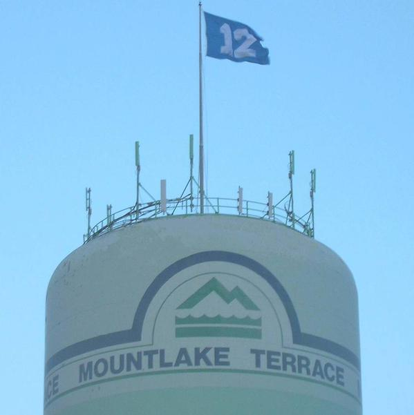 The Holiday Tree is down and the Seattle Seahawks 12th Man flag is flying high on the water tower.