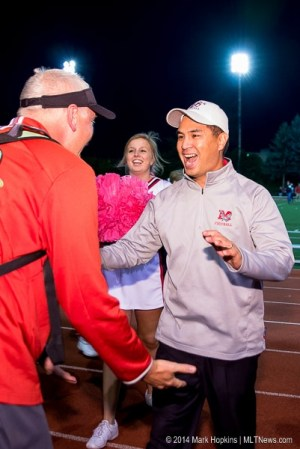 Mountlake Terrace football coach Tony Umayam celebrates a win over Glacier Peak on Oct. 10. (Photo by Mark Hopkins)