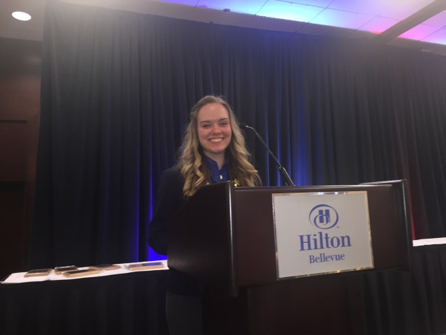 MTHS junior Haeley Johnston was elected to serve as WTSA President for the 2015-2016 school year at this past weekend's WTSA State Conference held in Bellevue. (Photos courtesy of Todd Johnston)
