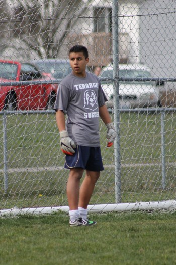 Mountlake Terrace sophomore Genaro Ruiz will assume the starting goalkeeper position for the Hawks this season. (Photos by Doug Petrowski)