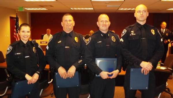 Mountlake Terrace Police Officer Kat Brech, Sergeant Pat Lowe, Officer Brian Moss and Officer Matt Porter received the Police Chief's Commendation award for their response to a sexual assault and stabbing on March 29, 2014.