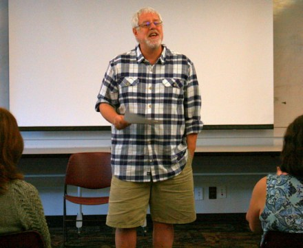 "Mountlake Terrace teacher Peter Breysse enjoyed reading his ""Once in Butte"" poem."