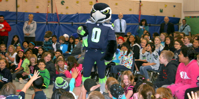 Mountlake Terrace students were excited to see Blitz at Friday's assembly.