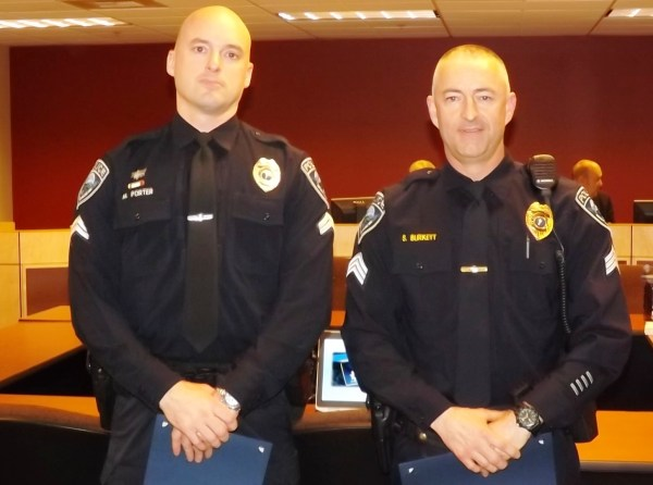 Mountlake Terrace Sergeant Scott Burkeet and Officer Matt Porter received the Medal of Distinguished Service award for their actions during an officer involved shooting on Nov. 19. 2012.