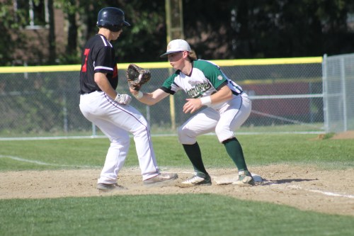 Mountlake Terrace's Drew Serres hurries back to first base to avoid the tag of Charger Zachary Townsend. (Photo by Doug Petrowski)