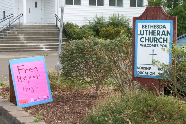 Free hot dogs and hugs will be available at Bethesda Church today.