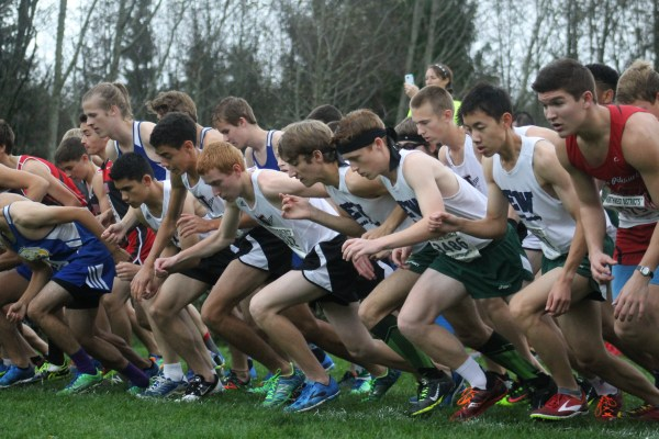 Mountlake Terrace (left, in white and black) and Edmonds-Woodway (right, in white and green) take off as the gun sounds to start the 3A boys race at districts. (Photo by Doug Petrowski)