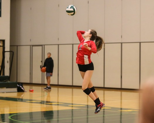 Kaitlyn Scott watches the ball as she goes for a serve