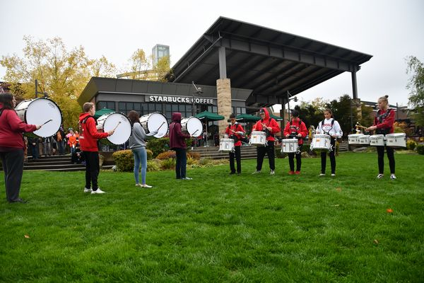 The Mountlake Terrace drum line performs.