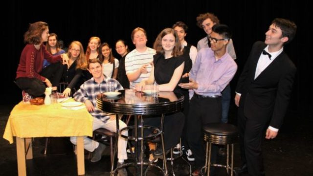 The cast of the Mountlake Terrace High School production of Check Please, led by Mason Pistole (sitting on left) and Memphis Ramerman (sitting center), will perform the one-act comedy play on Friday and Saturday, Nov. 16 and 17, in the MTHS Theater. (