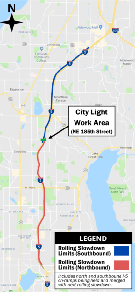 Light rail-related overhead power line work continues on I-5 Aug  6