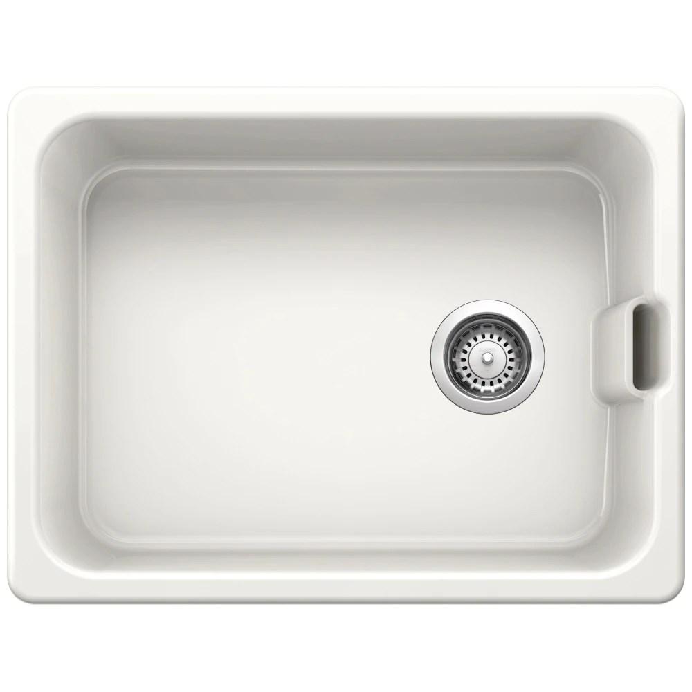 blanco belfast crystal white ceramic single bowl sink bl468008 white appliance city