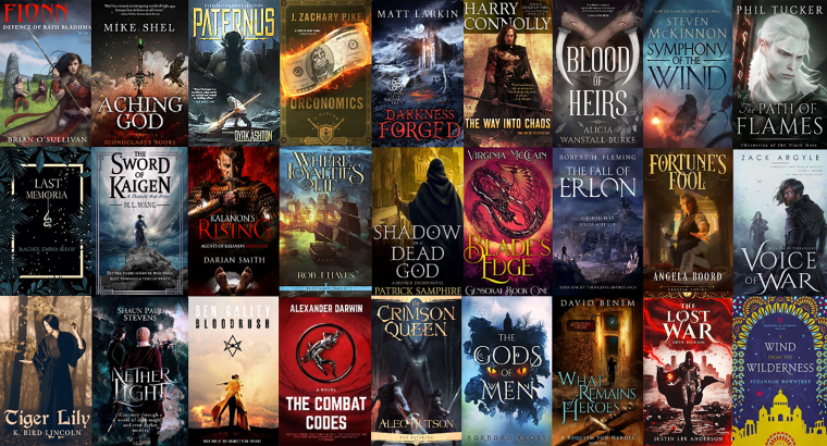 SPFBO Sale graphic featuring Fionn, Aching God, Paternus, Orconomics, Darkness Forged, The Way into Chaos, Blood of Heirs, Symphony of the Wind, The Path of Flames, Last Memoria, The Sword of Kaigen, Kalanon's Rising, Where Loyalties Lie, Shadow of a Dead God, Blade's Edge, The Fall of Erlon, Fortune's Fool, Voice of War, Tiger Lily, Nether Light, Bloodrush, The combat Codes, The Crimson Queen, The Gods of Men, What Remains of Heroes, The Lost War, A Wind from the Wilderness