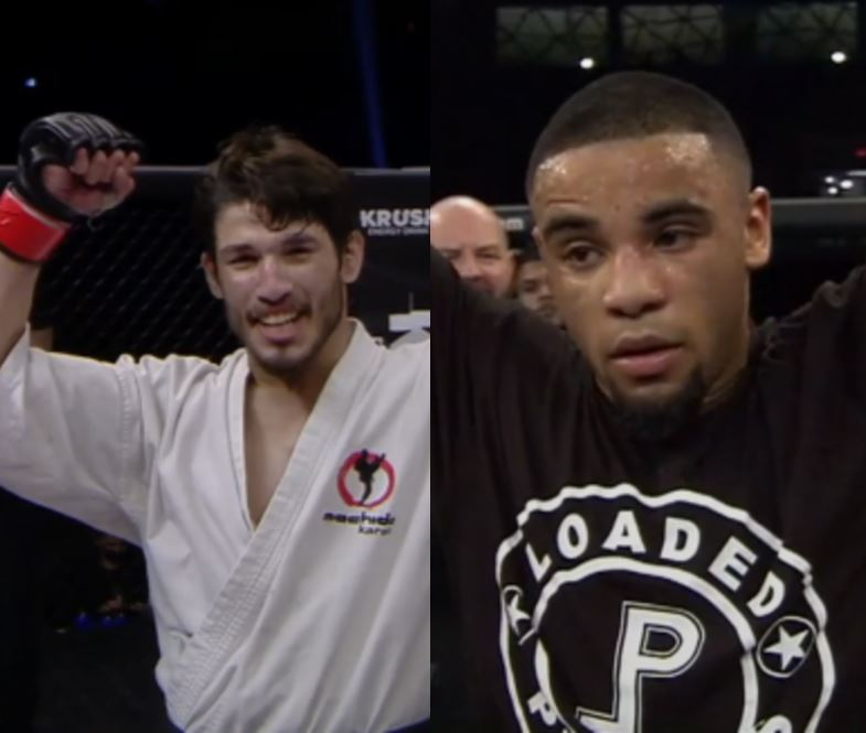An image split down the middle that shows both Bruno Souza and Elijah Johns getting their arms raised.