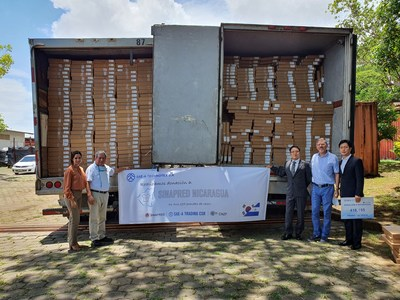 Receiving Sae-A Nicaragua's donation items at the emergency response agency