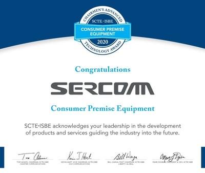 Sercomm Receives SCTE-ISBE Chairmen's Advanced Technology Award