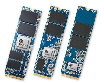 Silicon Motion's PCIe 4.0 NVMe 1.4 controller solutions include SM2264 for performance, SM2267 for mainstream and SM2267XT for value DRAM-less client SSDs.