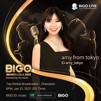 BIGO Awards Gala 2021 Top Global Broadcaster-Amy, @amy_tokyo