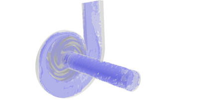 Co-simulation of fluids and discrete elements in a water pump
