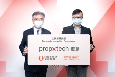 信和集團創新聯席董事楊孟璋先生(左)及「城慧」營運主管江宗澤先生(右)公佈創新計劃「城慧」入選企業,攜手推動房地產科技行業發展
