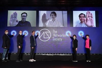 The Networker Society啟動禮,嘉賓(左上起)馬來西亞數碼營銷公司Didadee執行董事盛盟强先生、新加坡數字名人集團Gushcloud大中華地區總經理應知非女士、馬來西亞網紅營銷公司WebTVAsia葡萄子傳媒國際大中華區總裁李華霖先生;(左下起)香港互動市務商會副主席許健生先生、網紅營銷公司Collab Asia大中華地區CEO卡如飛博士Dr. Raffi Kamalian、微博總經理(港澳及東南亞地區)徐仕偉先生、香港管理專業協會數碼營銷聯會譚嘉瑩女士、威漢營銷傳播集團We Marketing Group 主席及首席執行官陳一枬教授。
