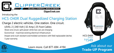 """The HCS-D40R qualifies for ClipperCreek's """"Trade-UP"""" program. For a limited time, consumers who purchase the HCS Dual charging station can sell their functioning used HCS-40, HCS-40R or HCS-40P back to ClipperCreek for $250. The new HCS-D40R mounts to the same bolt pattern and utilizes the same service, making the upgrade both easy and affordable."""