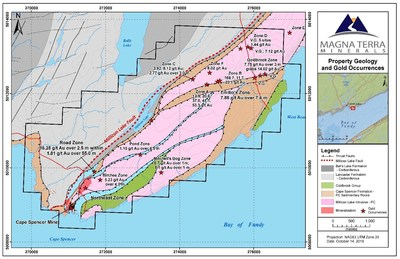 Exhibit B: Cape Spencer property geology and gold occurrences (CNW Group/Anaconda Mining Inc.)