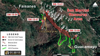 Figure 1: 2019 Drill Locations at Faisanes and Guacamayo (CNW Group/GR Silver Mining Ltd.)