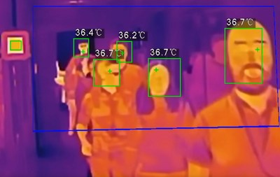 By scanning people quickly and without contact, this body temperature scanning camera can speed up lines at factories and grocery stores while still helping to identify people with symptoms of viruses and helping to stop the spread.