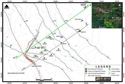 Figure 1:  Drill Hole Collar Locations– Mineralized Structures (San Juan Area) (CNW Group/GR Silver Mining Ltd.)