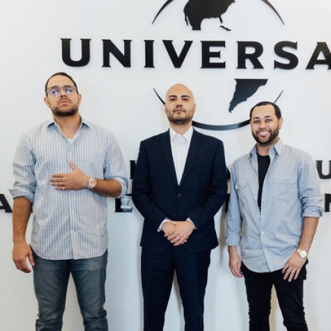 MPM Productions co-founders Eric O'Connor, Luis Arellano, and Dimitri Hurt pose for a picture at the Universal Latin offices in Hollywood, CA.