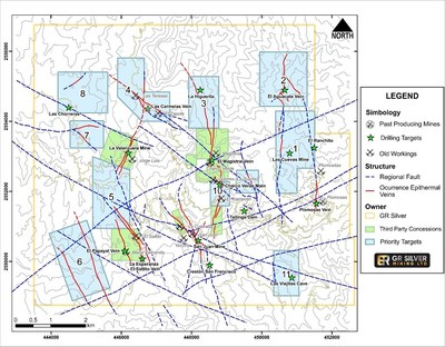 Figure 2: Future Exploration Drilling Targets – Under-explored Epithermal Vein Systems (CNW Group/GR Silver Mining Ltd.)