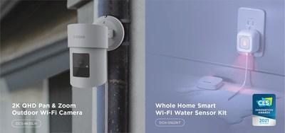 Les nouvelles solutions de maison intelligente mydlink au salon de l'électronique grand public 2021 de D-Link comprennent le kit de capteur d'eau Wi-Fi intelligent pour toute la maison (DCH-S1621KT), un honoré de l'innovation au CES, qui détecte et avertit intelligemment les utilisateurs des fuites d'eau potentielles à l'intérieur;  et une caméra Wi-Fi domestique extérieure panoramique et zoom QHD 2K (DCS-8635LH).