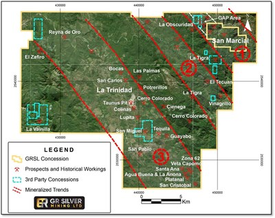 Figure 2   La Trinidad Concession – Mineralized Trends and Historical Workings (CNW Group/GR Silver Mining Ltd.)