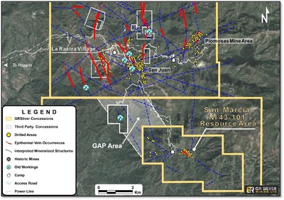 Figure 3   GAP Area – Structural Links Between San Marcial and Plomosas Projects (CNW Group/GR Silver Mining Ltd.)