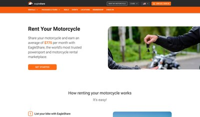 Share your motorcycle and earn an average of $775 per month with EagleShare, the world's most trusted powersport and motorcycle rental marketplace.