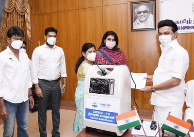 Rtn. AKS. Dr. Leema Rose Martin, Managing Trustee, Martin Charitable Trust, Ms. Daisy Martin Aadhav Arjuna, Director, Martin Group, and Mr. M. George Marshall, COO - Martin Group handed over 3 Crores worth relief materials to Honourable Chief Minister of Tamil Nadu, Thiru M.K Stalin amidst the presence of Mr. Udhayanidhi Stalin, MLA