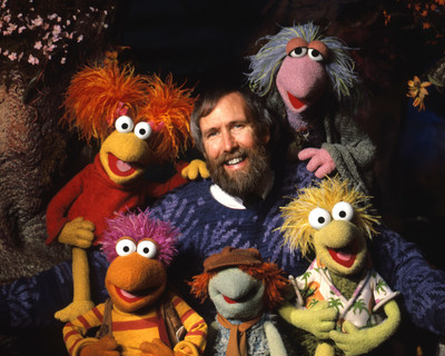 Jim Henson with characters from Fraggle Rock