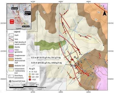 Figure 1 – Geologic Map of the GAP Area with sample locations and highlights of high-grade Au-Ag results (CNW Group/GR Silver Mining Ltd.)