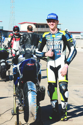 AGVSPORT Sponsored Rider Jay Newton wearing custom suit at MSR Houston. Photo taken after Jay set the new Ultra Lightweight Track record for a CMRA event that weekend. - PC Amanda Morgan.