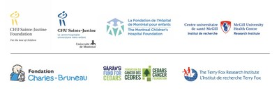 Logos: CHU Sainte-Justine Foundation, CHU Sainte-Justine, Montreal Children's Hospital Foundation, Research Institute of the MUHC, Charles-Bruneau Foundation, Sarah's Fund, The Terry Fox Research Institute (TFRI) (CNW Group/The Montreal Children's Hospital Foundation)